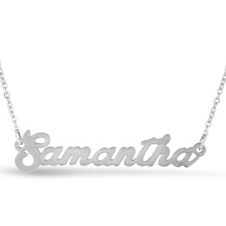 Samantha Nameplate Necklace In Silver