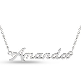 Amanda Nameplate Necklace In Silver