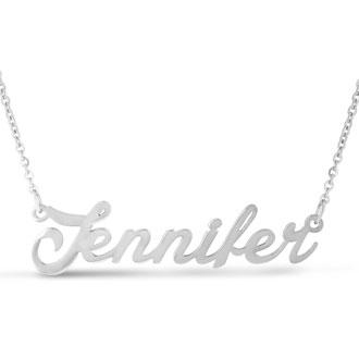 Jennifer Nameplate Necklace In Silver
