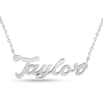 Taylor Nameplate Necklace In Silver
