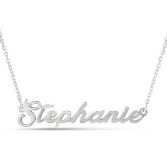 Stephanie Nameplate Necklace In Silver