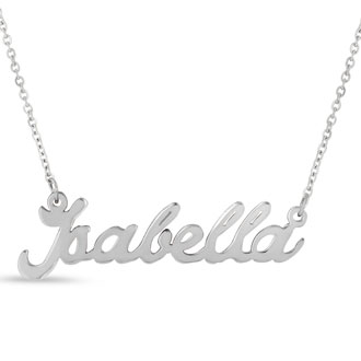 Isabella Nameplate Necklace In Silver