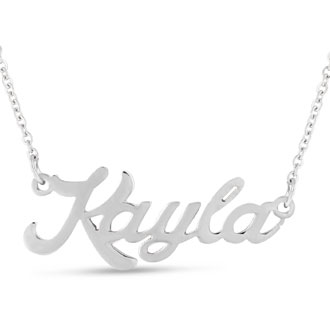 Kayla Nameplate Necklace In Silver