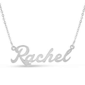 Rachel Nameplate Necklace In Silver