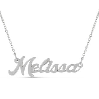 Melissa Nameplate Necklace In Silver
