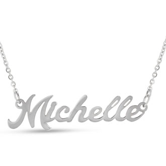 Michelle Nameplate Necklace In Silver