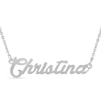 Christina Nameplate Necklace In Silver