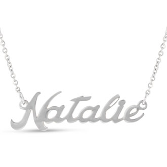 Natalie Nameplate Necklace In Silver