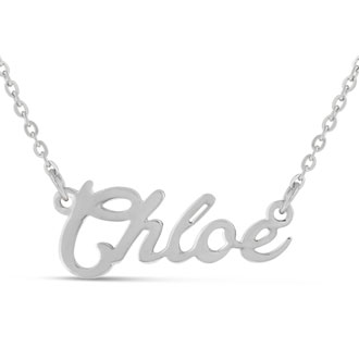 Chloe Nameplate Necklace In Silver