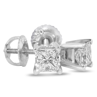 1 1/4ct Princess Diamond Stud Earrings in 14k White Gold, H/I, SI2/SI3