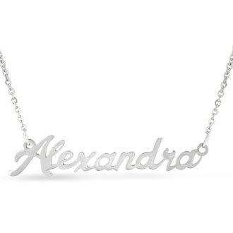 Alexandra Nameplate Necklace In Silver