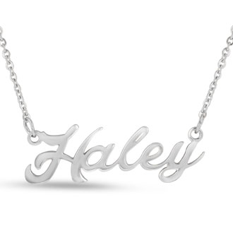 Haley Nameplate Necklace In Silver