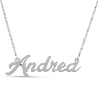 Andrea Nameplate Necklace In Silver
