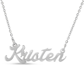 Kristen Nameplate Necklace In Silver