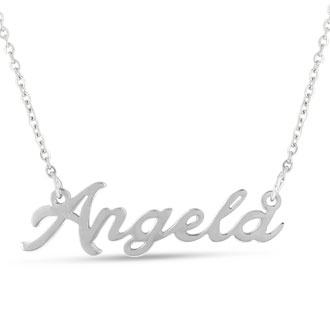 Angela Nameplate Necklace In Silver