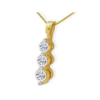 1ct Three Diamond Drop Style Diamond Pendant In 14k Yellow Gold