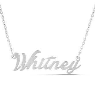 Whitney Nameplate Necklace In Silver