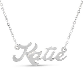 Katie Nameplate Necklace In Silver