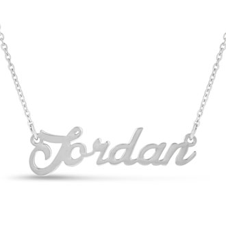 Jordan Nameplate Necklace In Silver