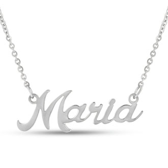 Maria Nameplate Necklace In Silver