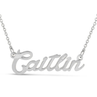 Caitlin Nameplate Necklace In Silver