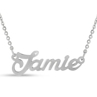 Jamie Nameplate Necklace In Silver