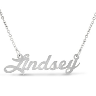 Lindsey Nameplate Necklace In Silver