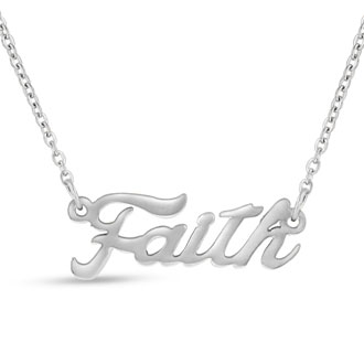 Faith Nameplate Necklace In Silver
