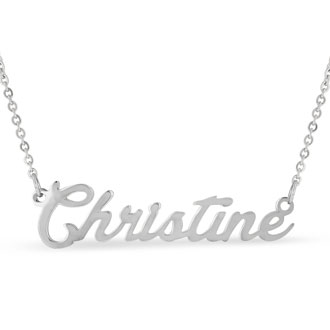 Christine Nameplate Necklace In Silver