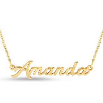 Amanda Nameplate Necklace In Gold