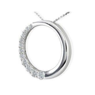 1/4ct Circle Style Journey Diamond Pendant, 14k White Gold