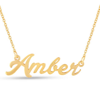 Amber Nameplate Necklace In Gold