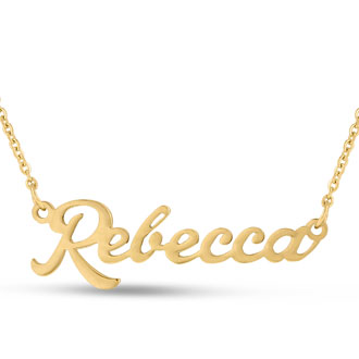 Rebecca Nameplate Necklace In Gold