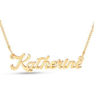 Katherine Nameplate Necklace In Gold