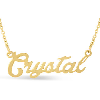Crystal Nameplate Necklace In Gold