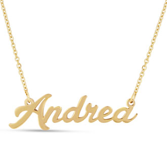 Andrea Nameplate Necklace In Gold