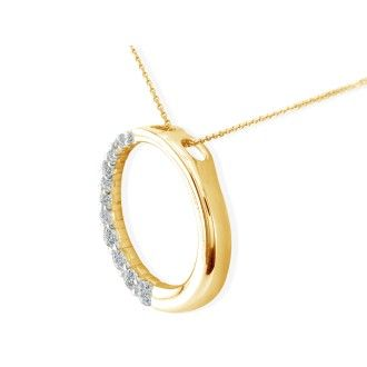 3/4ct Circle Style Journey Diamond Pendant, 14k Yellow Gold