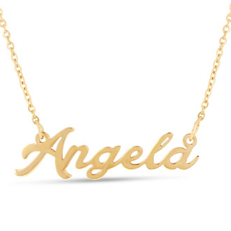 Angela Nameplate Necklace In Gold