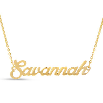 Savannah Nameplate Necklace In Gold