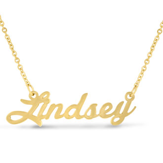 Lindsey Nameplate Necklace In Gold