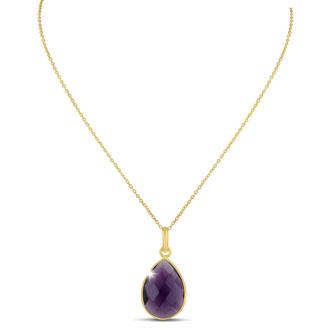 10ct Amethyst Teardrop Necklace in 18k Gold Overlay