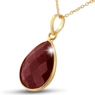 10ct Ruby Pear Shape Necklace In 18 Karat Gold Overlay