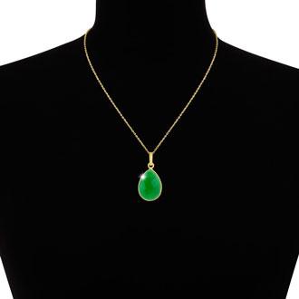 10ct Emerald Quartz Teardrop Necklace in 18k Gold Overlay