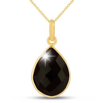 10ct Black Onyx Teardrop Necklace in 18k Gold Overlay