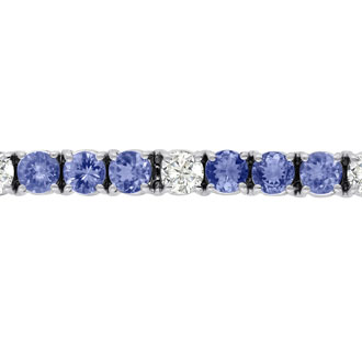 16 Carat Tanzanite and Diamond Bracelet In 14 Karat White Gold