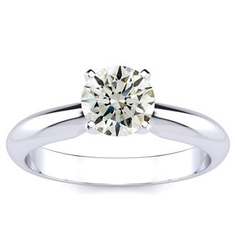 1 Carat Diamond Solitaire Engagement Ring In 14K White Gold