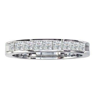 1/4ct Channel Set Princess Diamond Band in 14k White Gold