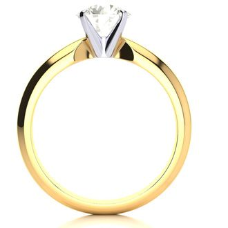 1ct Diamond Solitaire Engagement Ring, J-K Color, VS Clarity, 14K Yellow Gold.