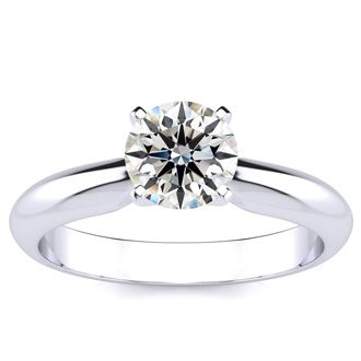 1ct Fine Diamond Engagement Ring in 14k White Gold