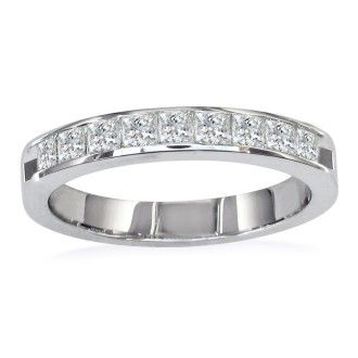 1/2ct Princess Diamond Channel Set Band, 14k White Gold, LIMITED SIZES LEFT